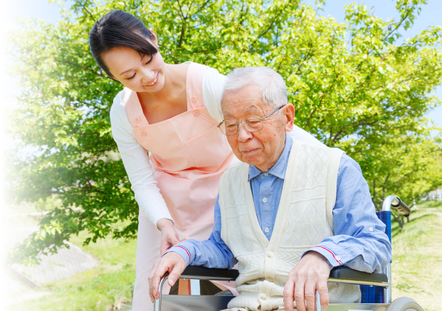 asian caregiver and patient